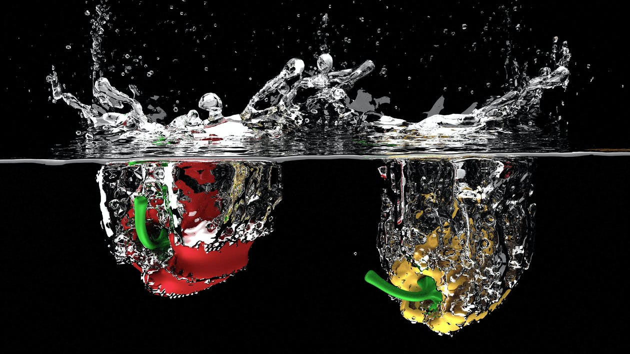Free stock photo of splash, vegetables, vegetables splash