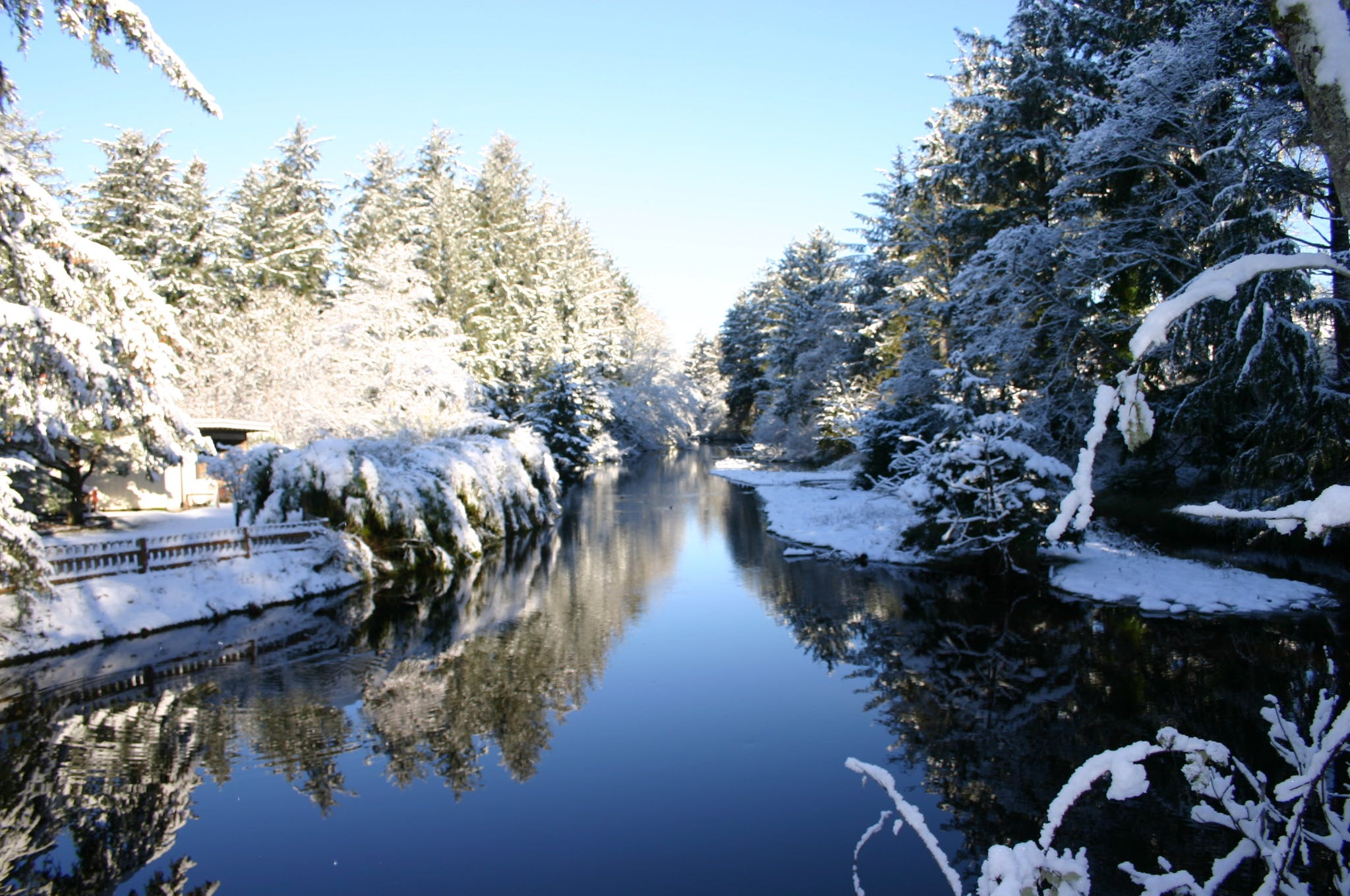 Free stock photo of tidal creek snow