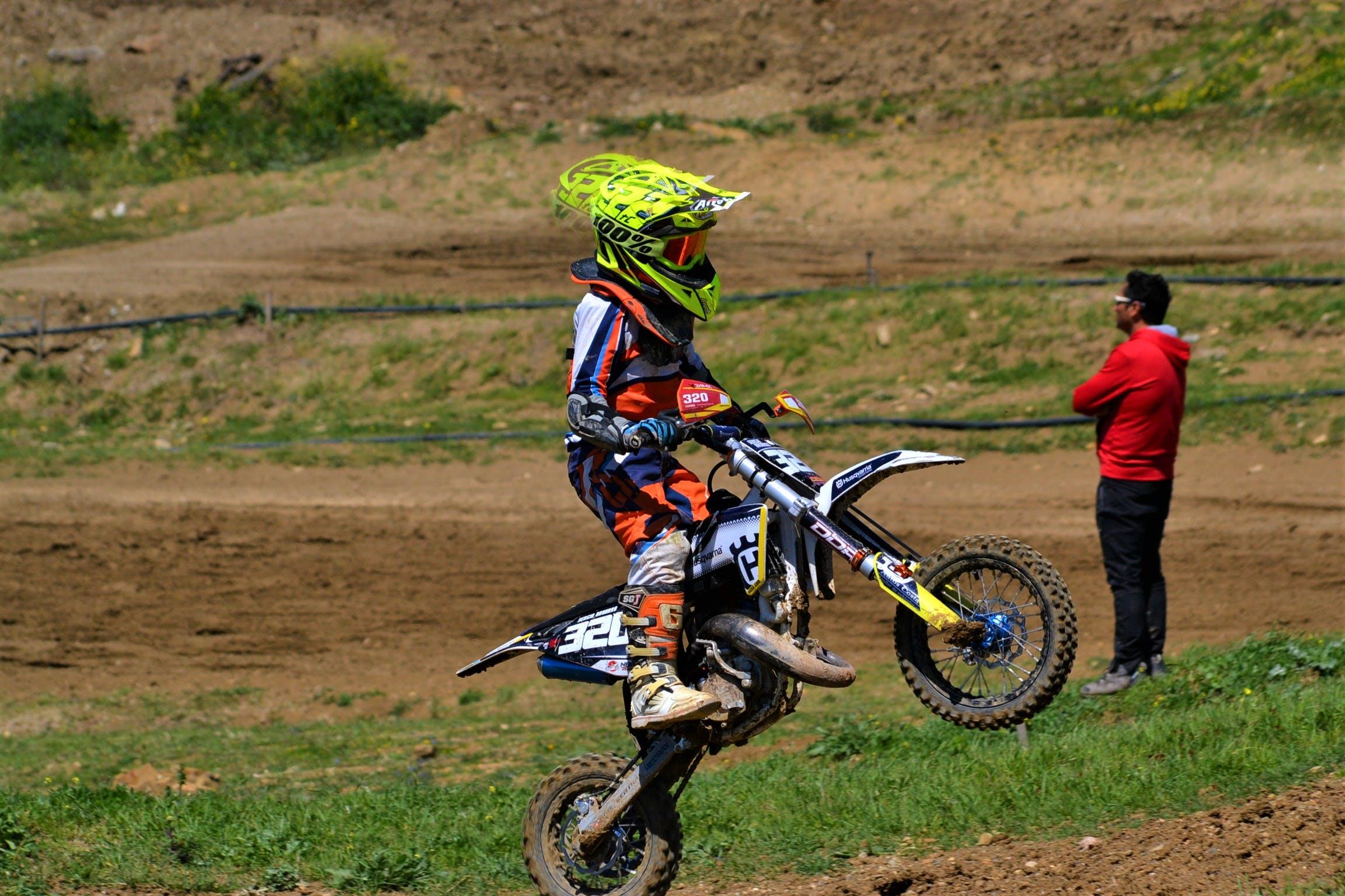 Free stock photo of biker, helmet, jump, motocross