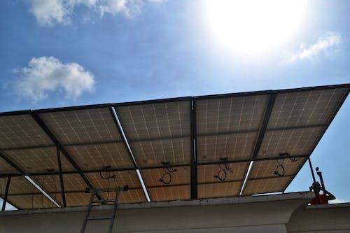 Free stock photo of solar panel array, sunlight