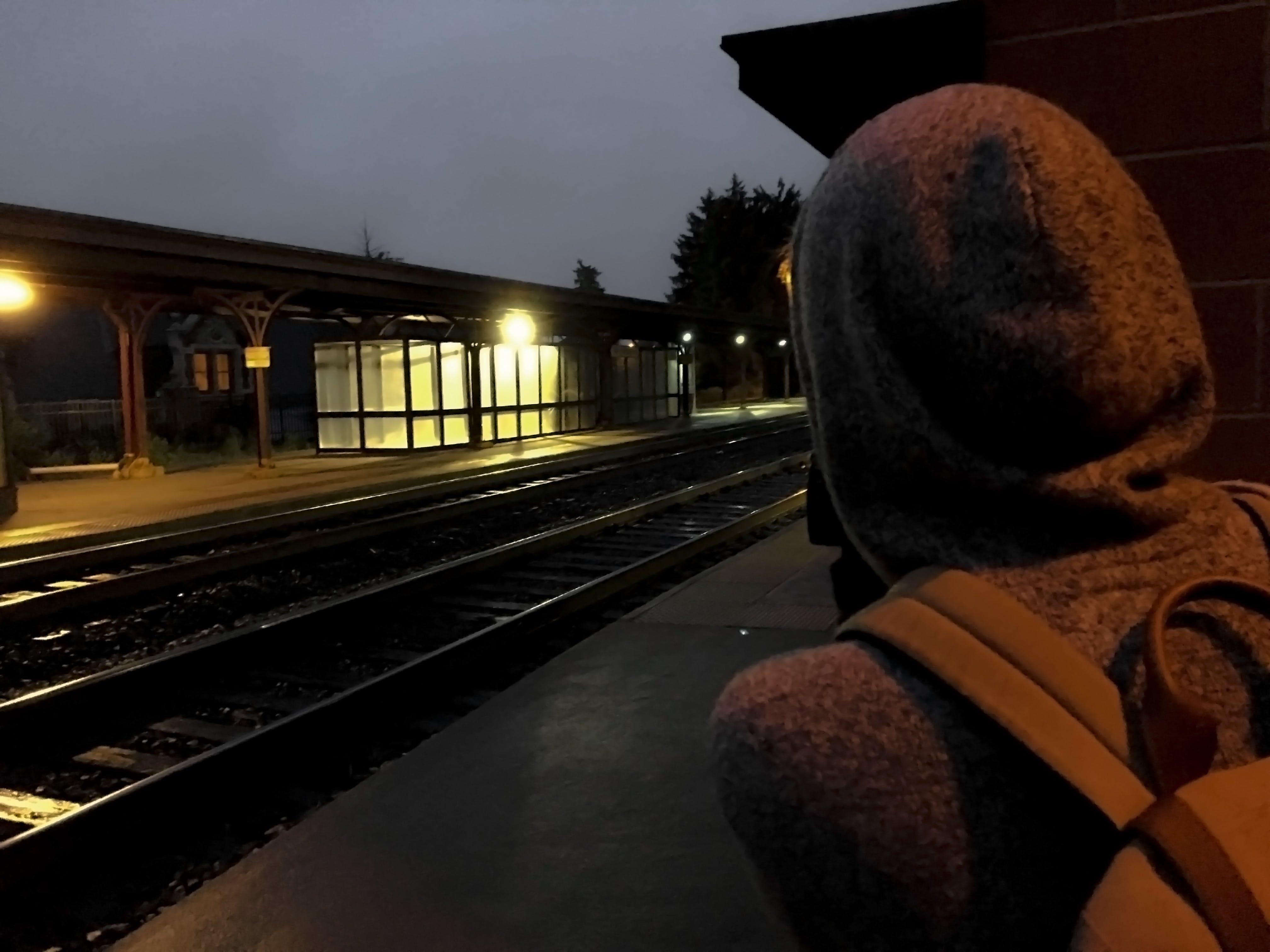 Foto d'estoc gratuïta de entrenar, estació de tren, fent una foto, fosc