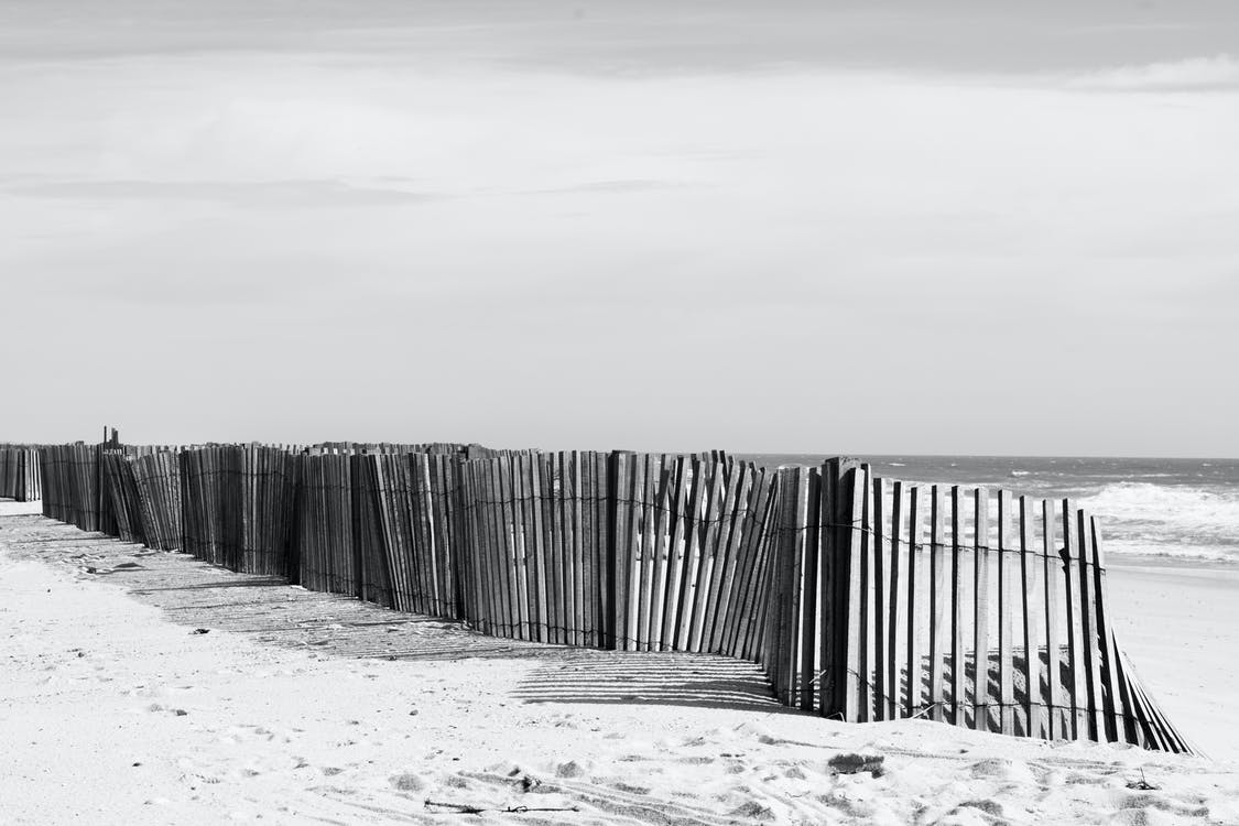 Grayscale Photo of Fences Near Beach