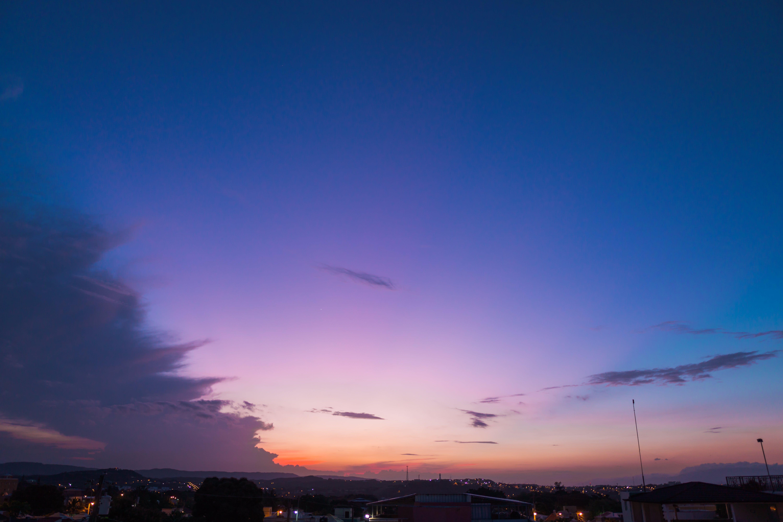 zu abend, dämmerung, häuser, himmel