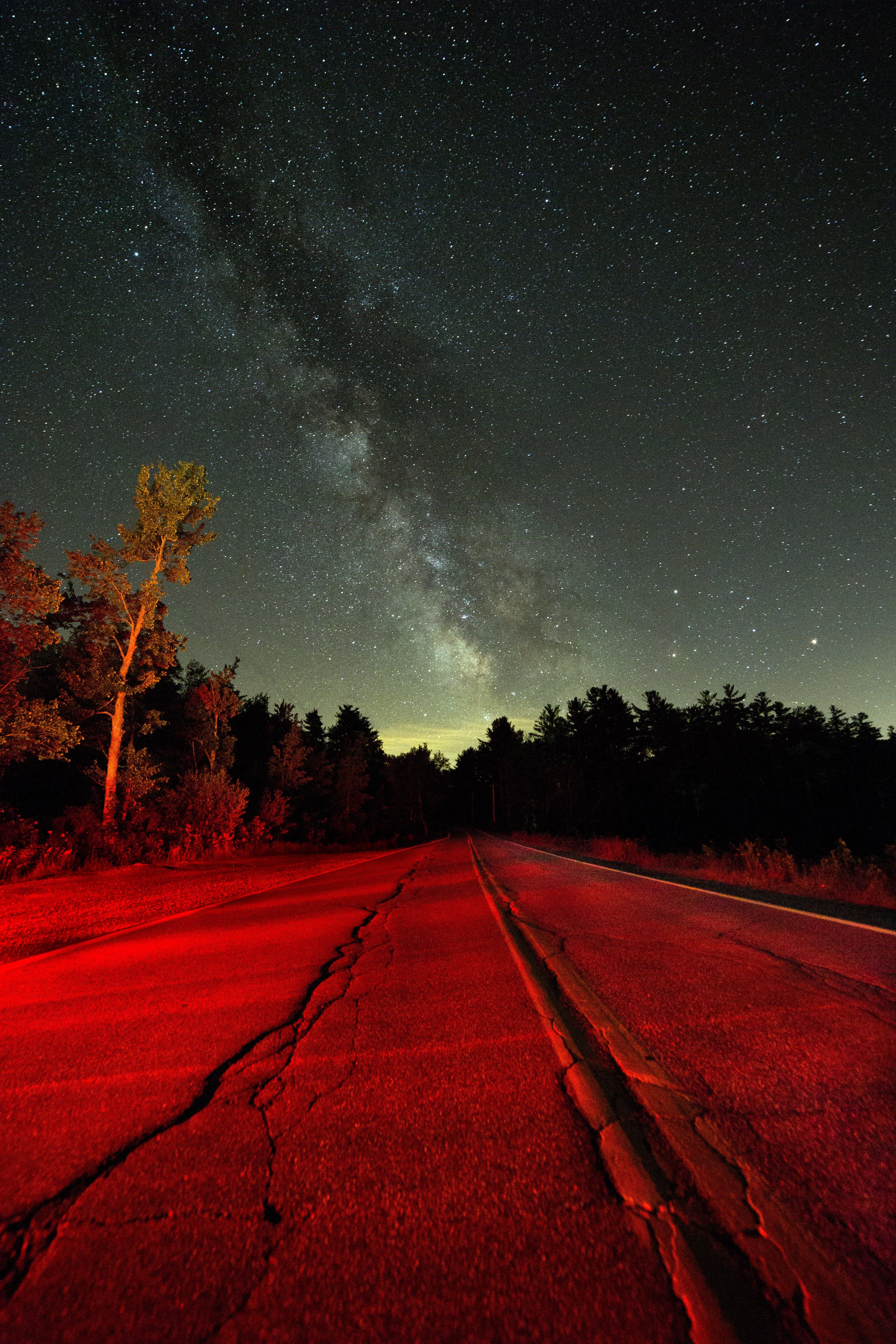 Kostenloses Stock Foto zu abend, autobahn, bäume, dunkel