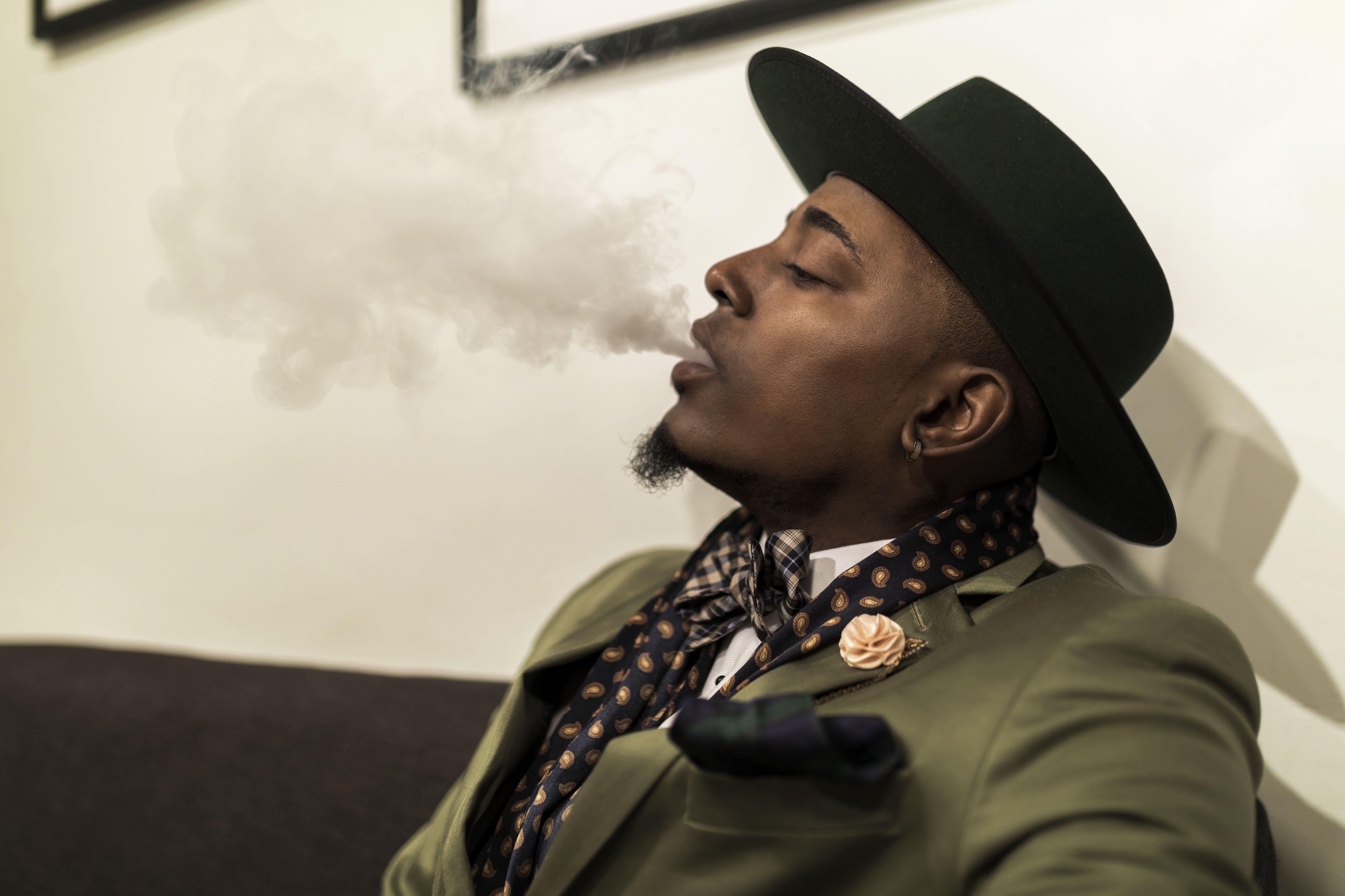 Man Blowing Smoke