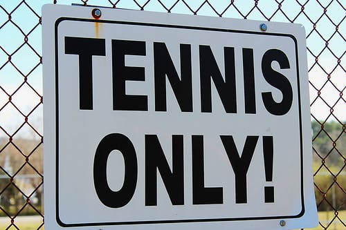 Free stock photo of chain link fence, daytime, sign, tennis