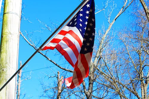 Free stock photo of American flag, blue sky, pole, trees
