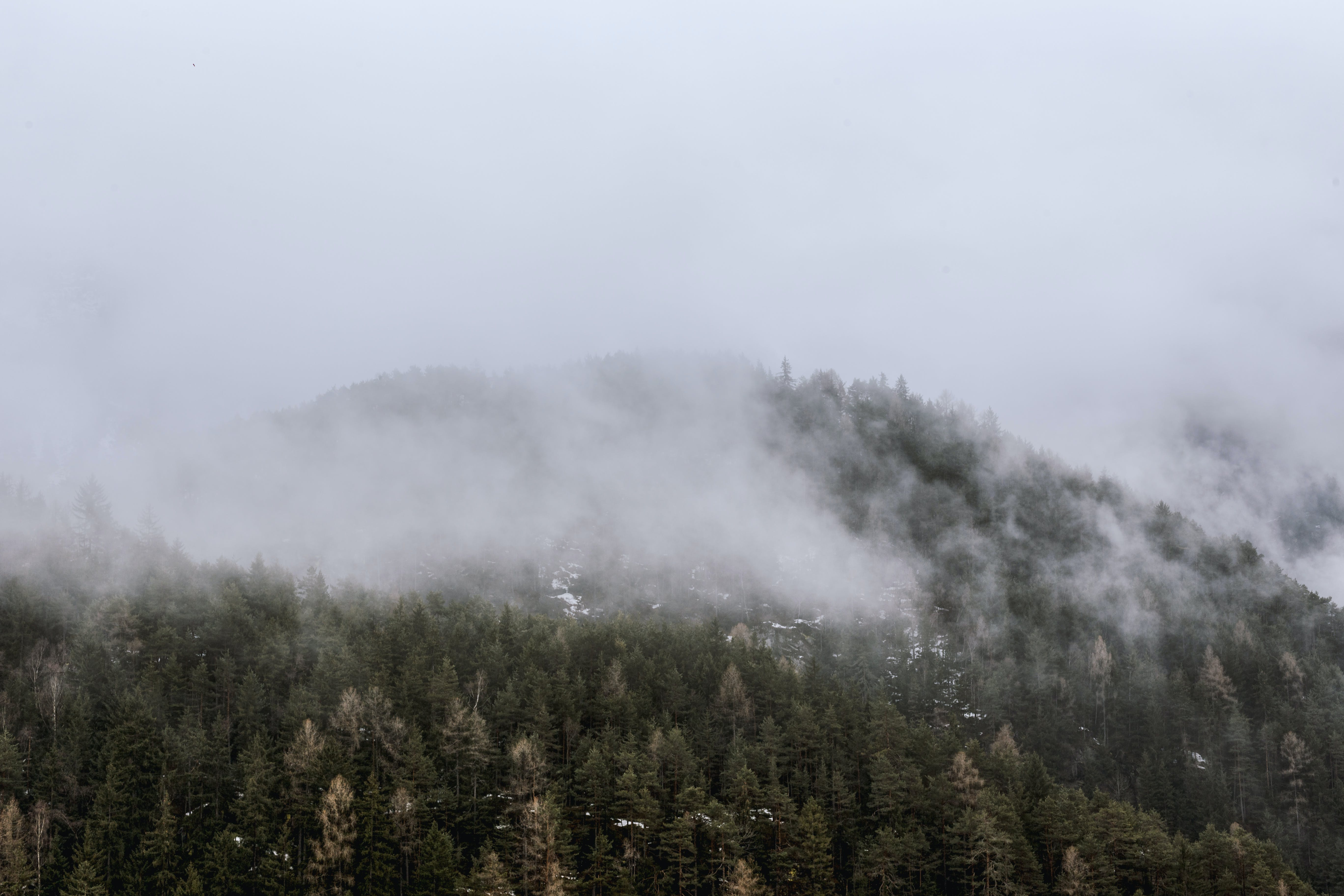 View of Green Mountain Covered by Fog
