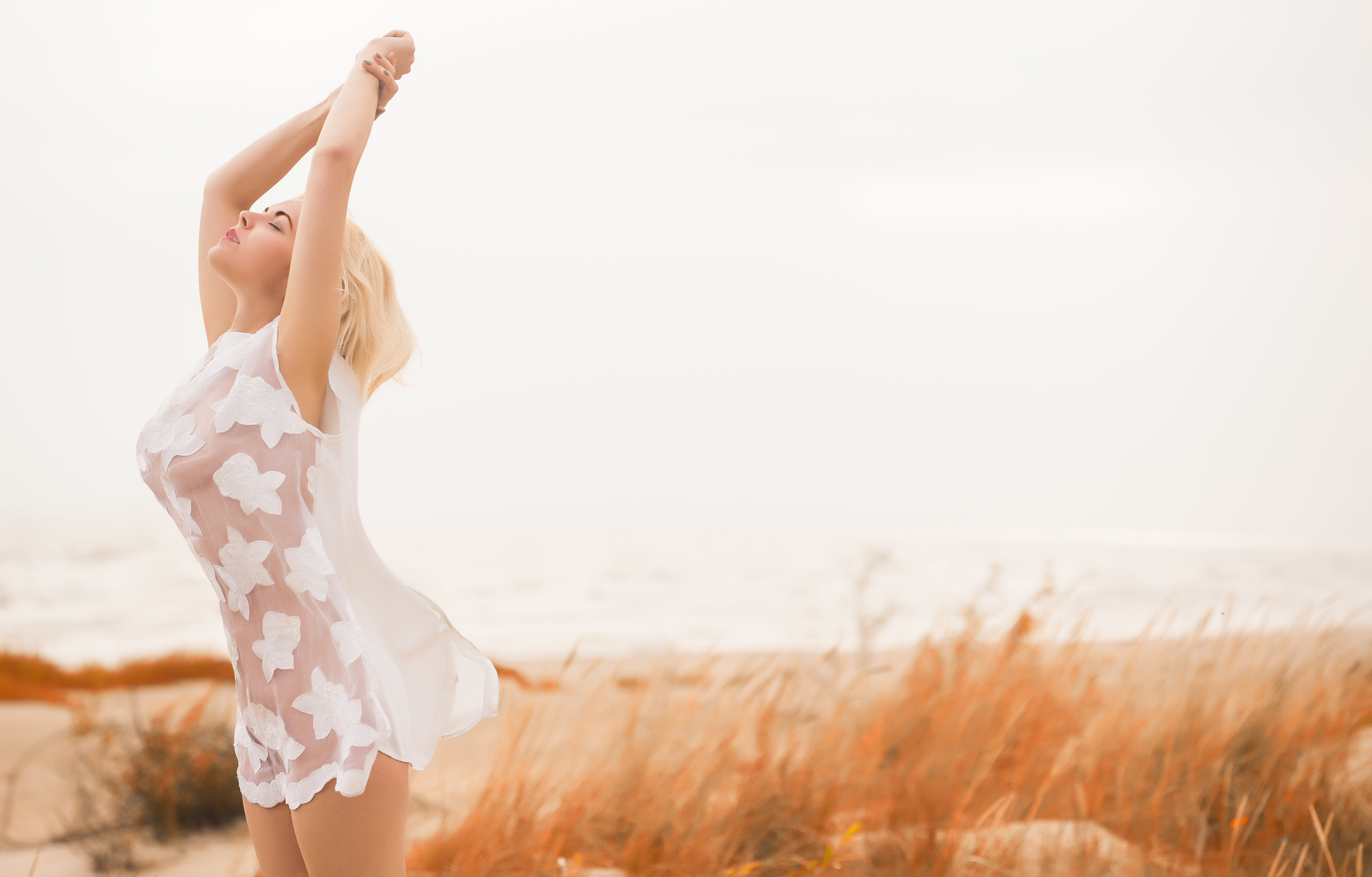 Woman Wearing Sheer Dress Standing Near Grasses