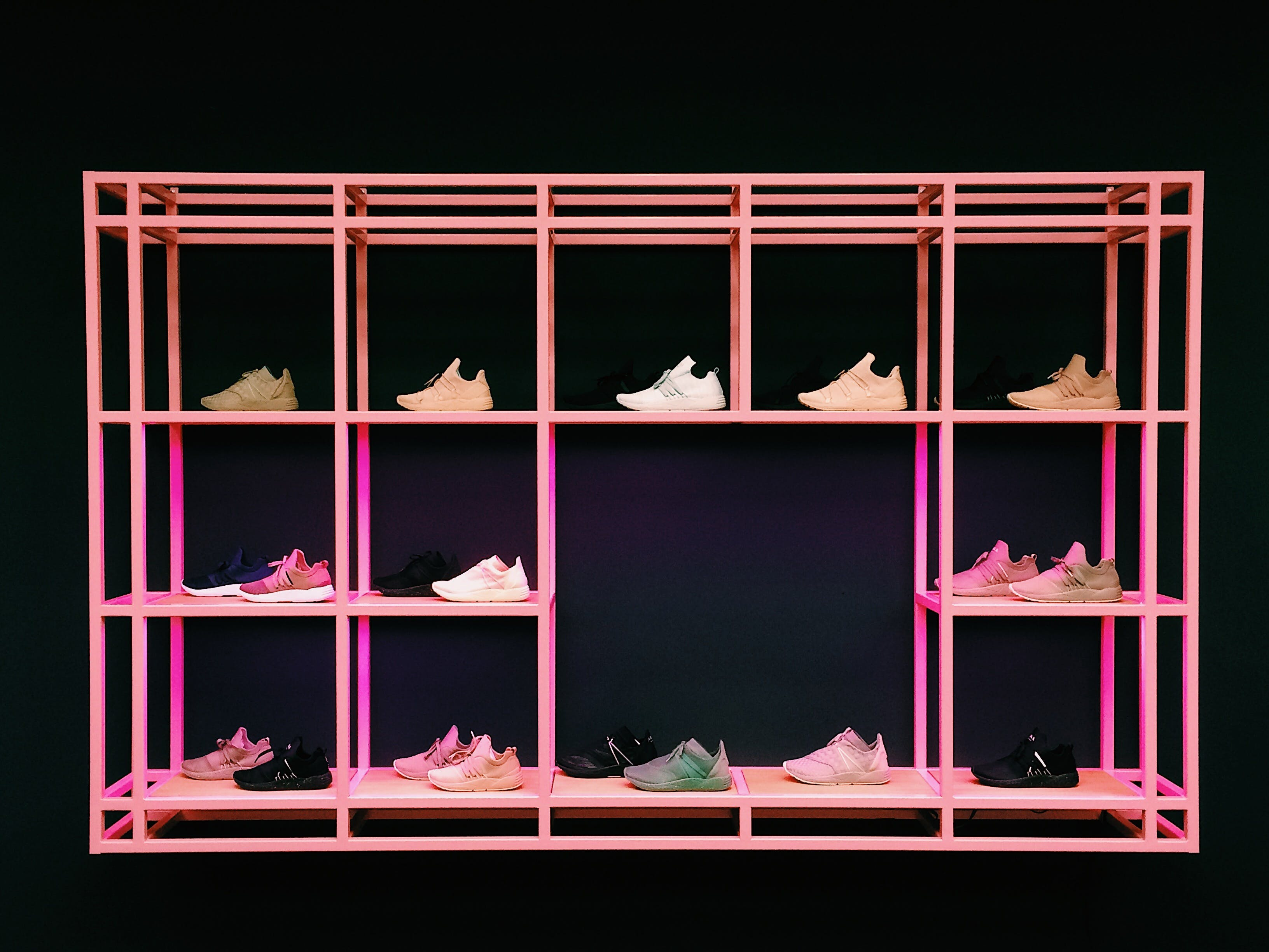 Pink Shoe Rack With Assorted-color-and-style Shoes