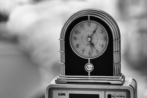 Free stock photo of alarm clock, black amp white, close-up