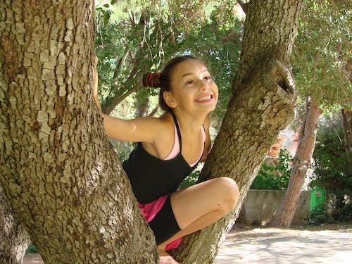 Immagine gratuita di ragazza divertente arrampicata su un albero