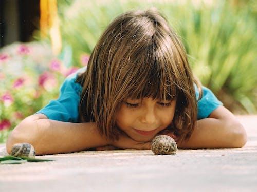คลังภาพถ่ายฟรี ของ หญิงสาวมองอย่างใกล้ชิดกับหอยทากธรรมชาติ