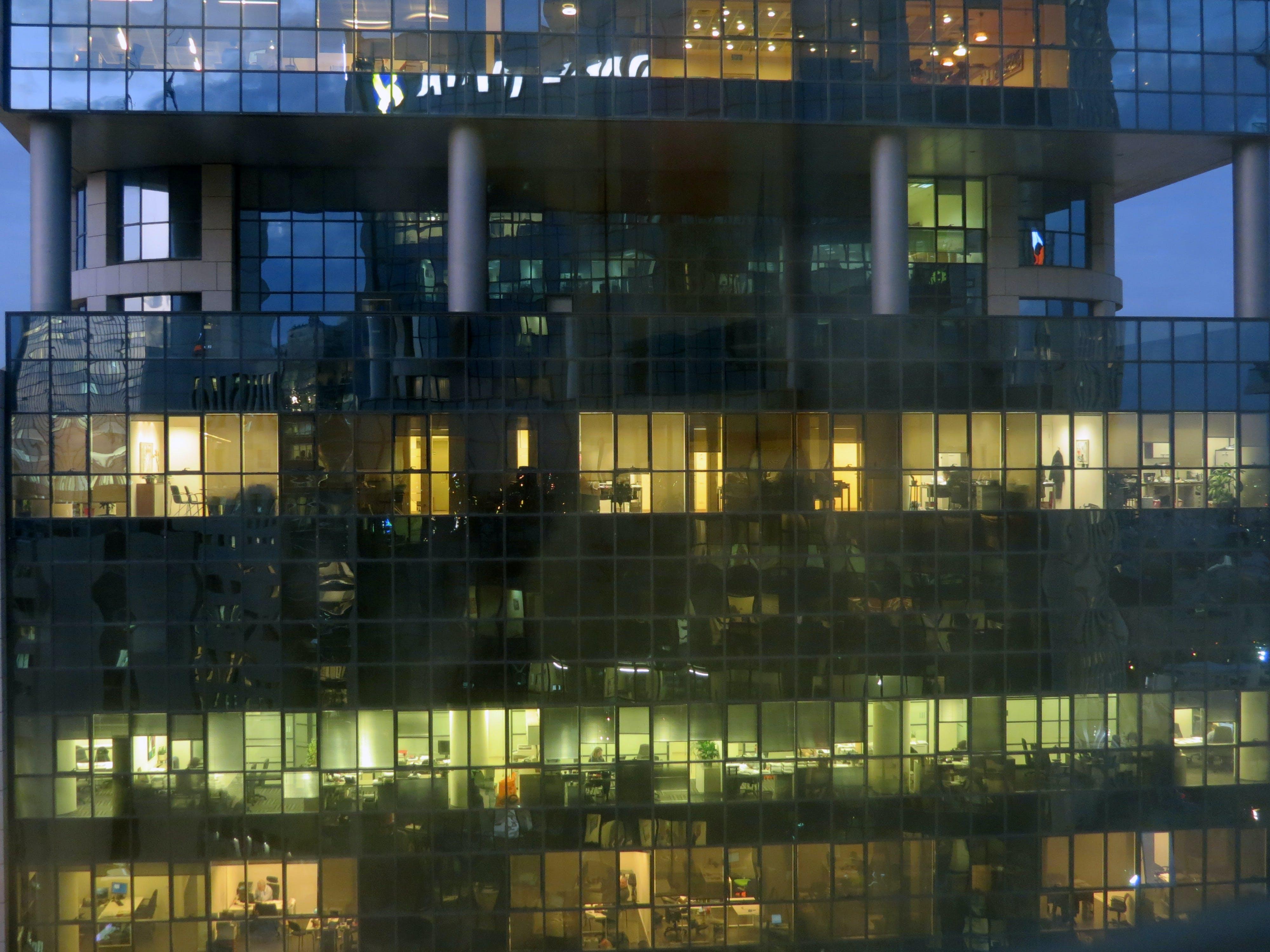 석양 사무실 건물, 업무 공간, 창문의 무료 스톡 사진