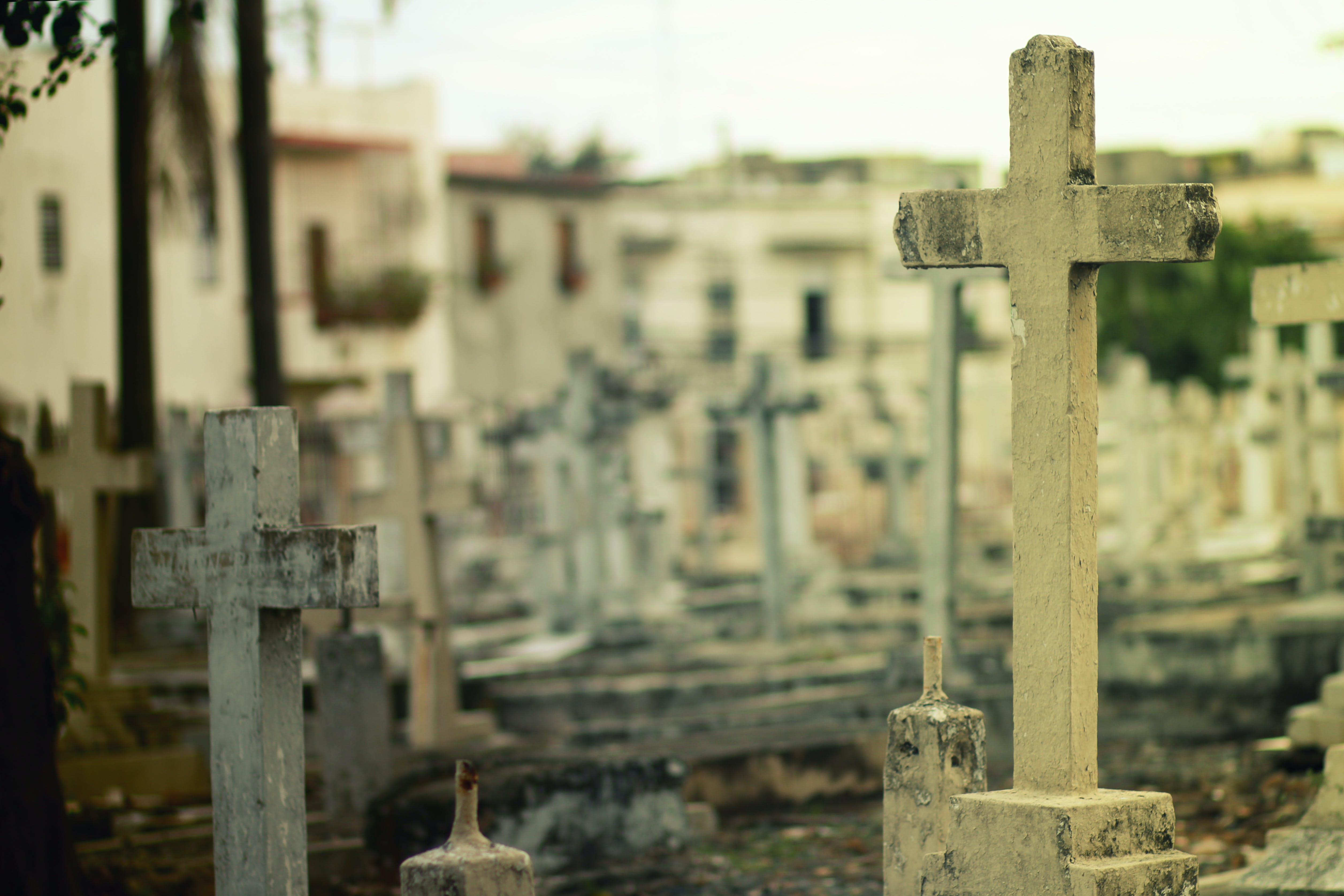 2 White Headstone Inside Cemetery during Daytime