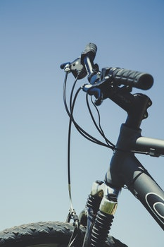 Gray and Black Bicycle in Closeup Photo