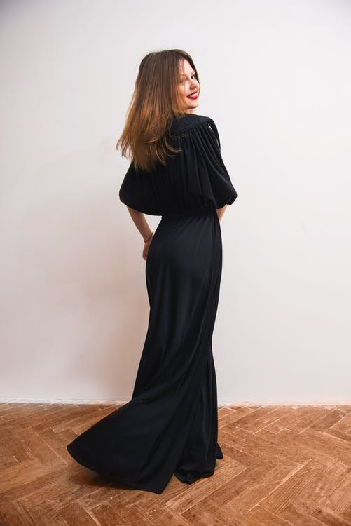 Woman Wearing Black Maxi Dress