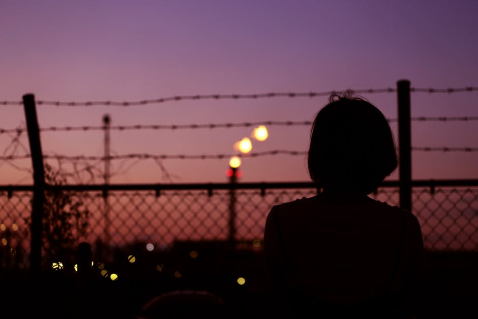 Silhouette of Person in Front of Fence