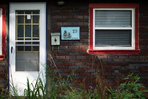 Free stock photo of address, branches, brick, door