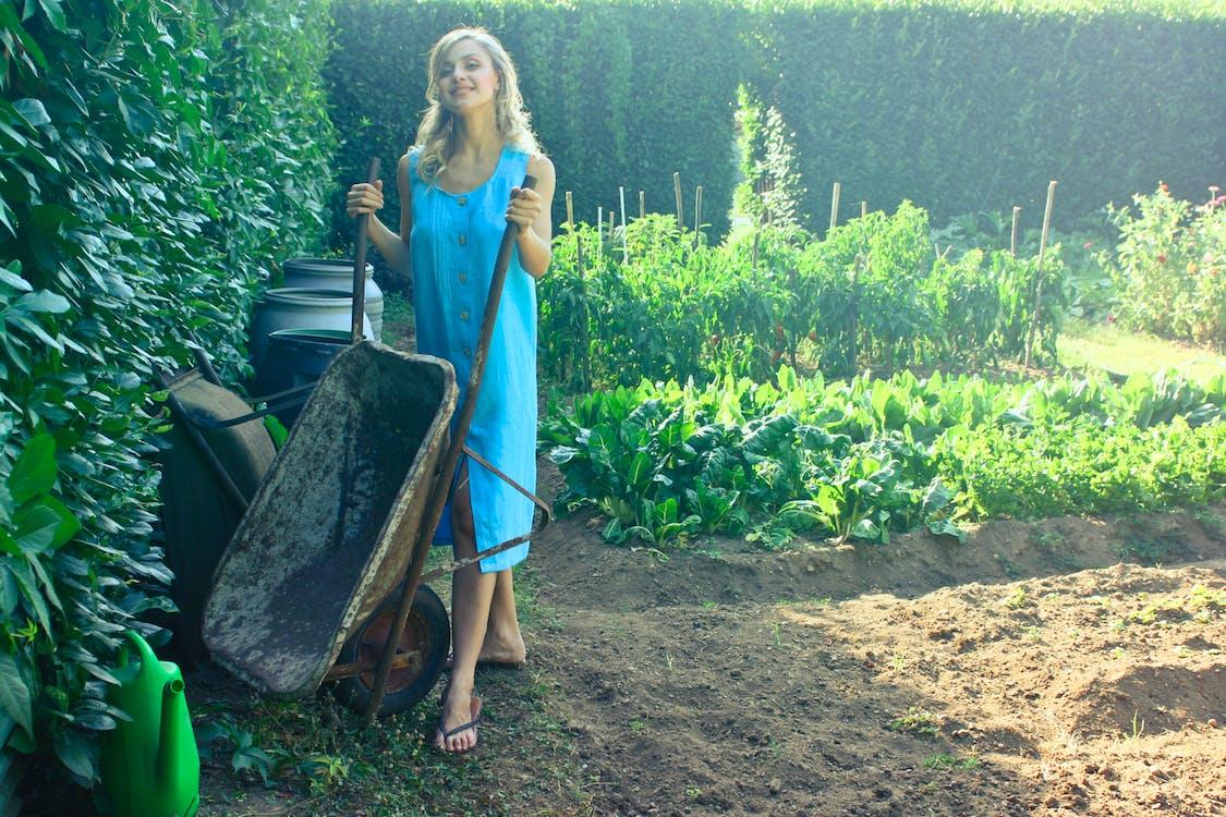 Photo of Woman Holding Wheelbarrow