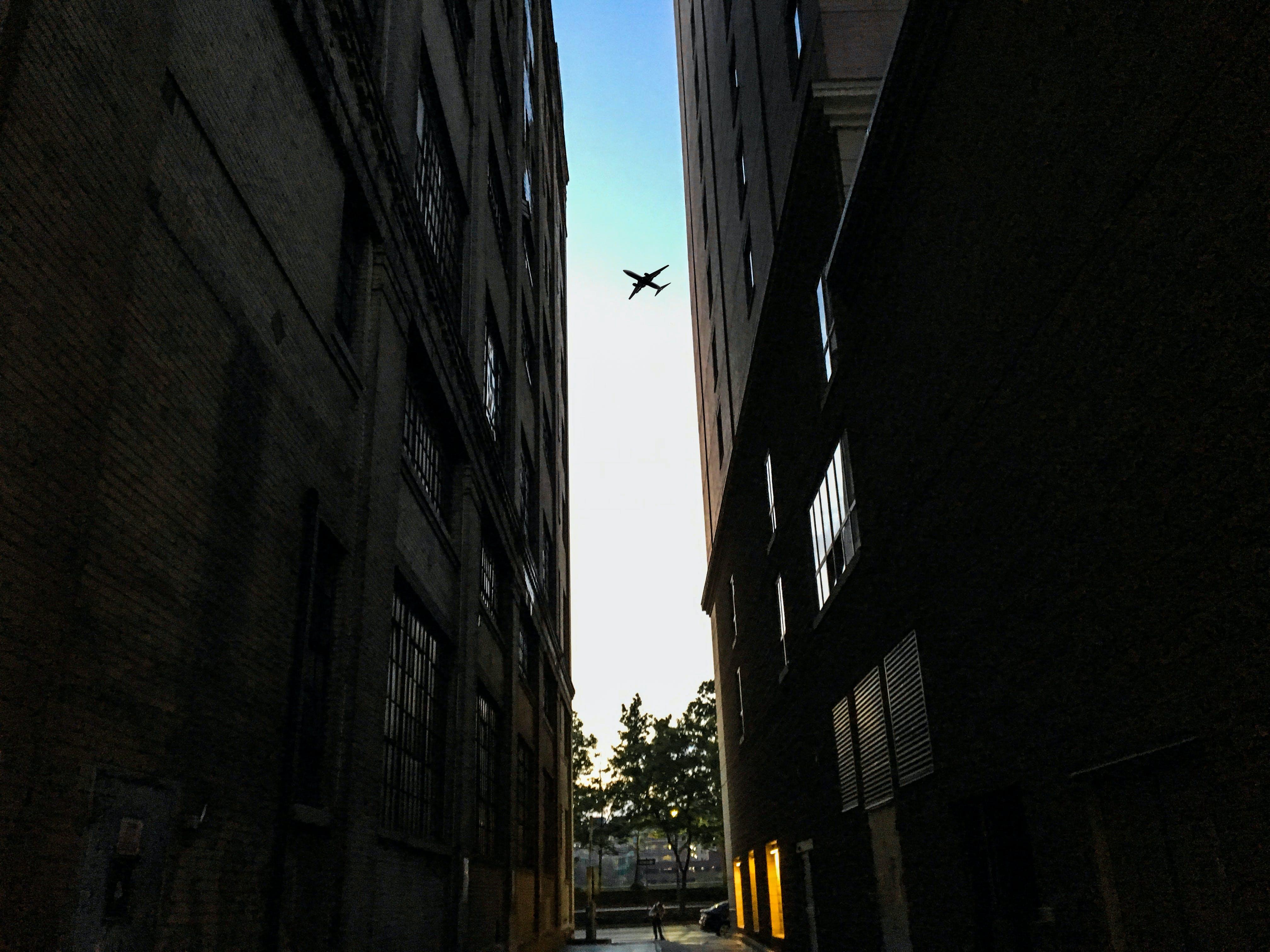 Foto d'estoc gratuïta de avió, buit, carrer, cel