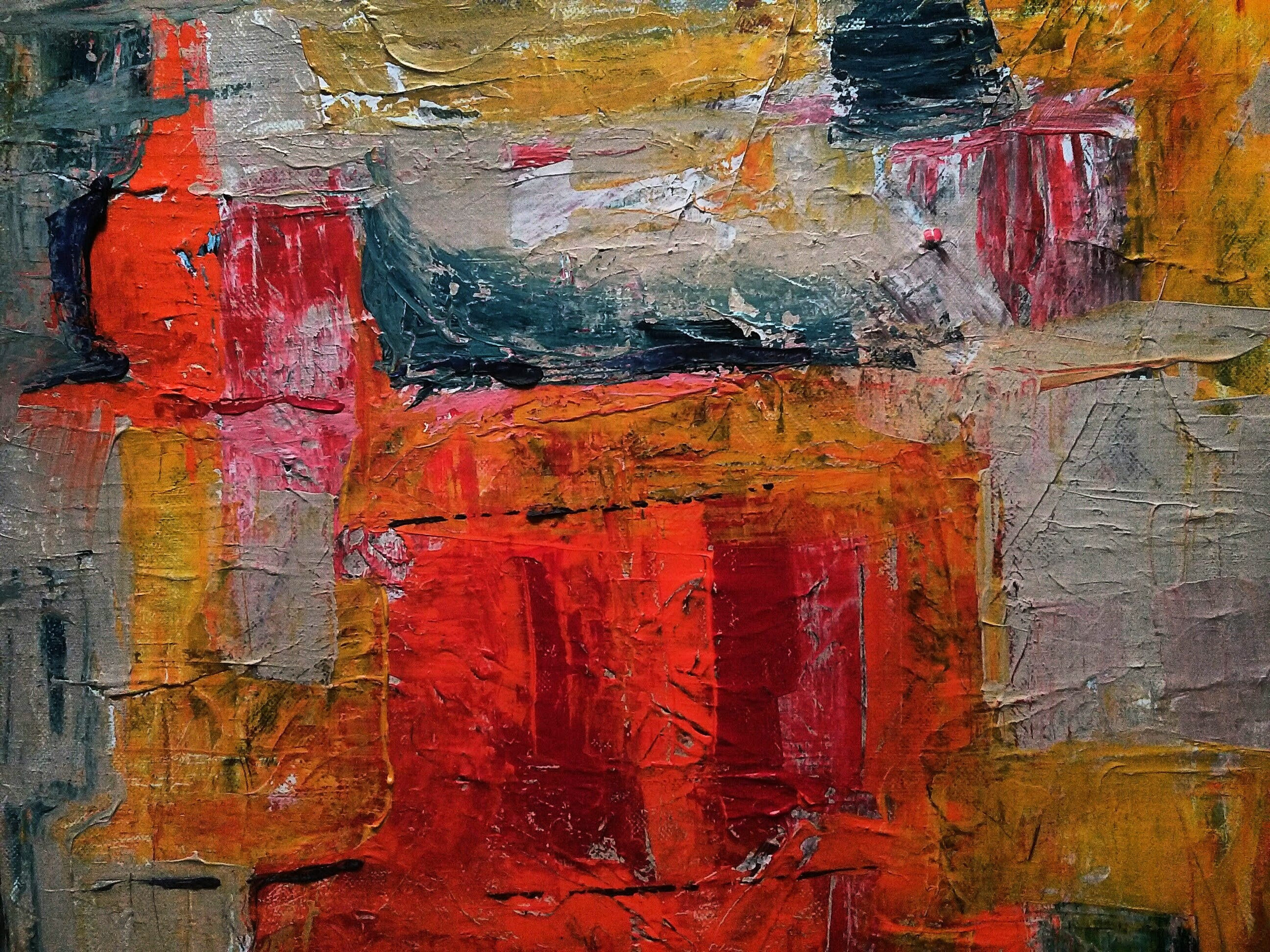 Red, Gray, and Yellow Abstract Painting