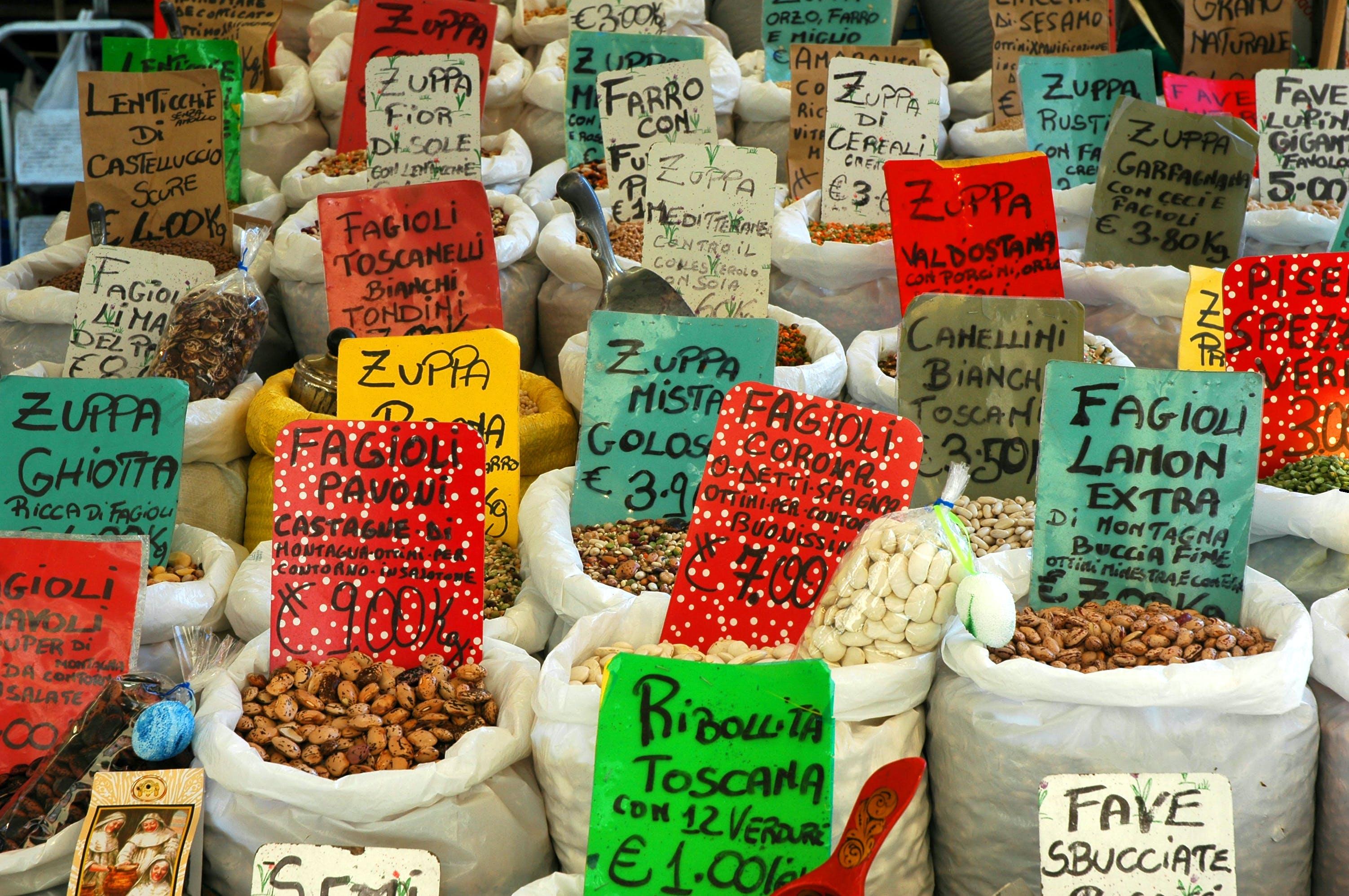 Assorted Beans in White Sacks