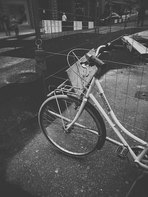 bicyclette, chaussée, démodé