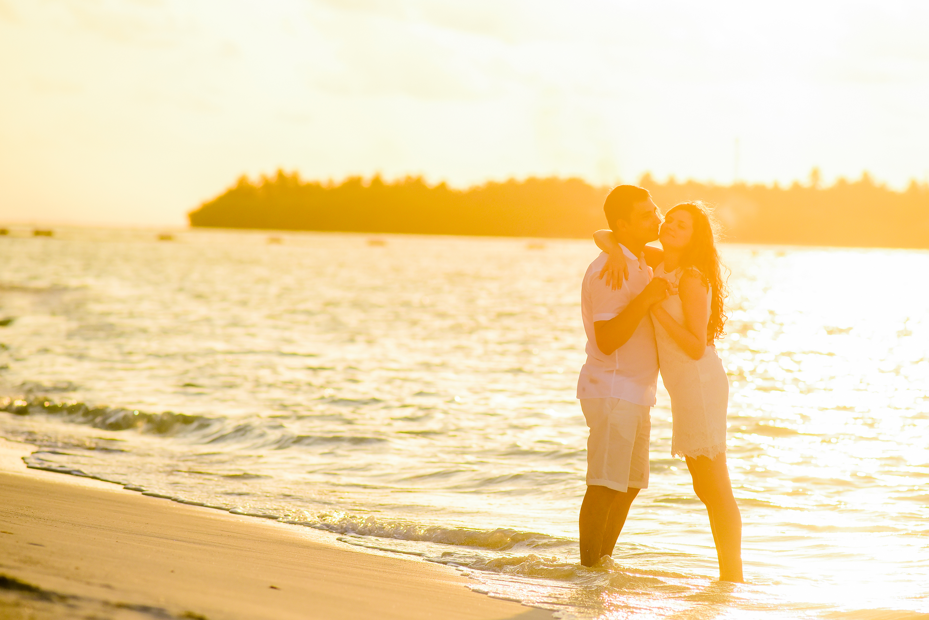Hugging Woman and Man in Beach