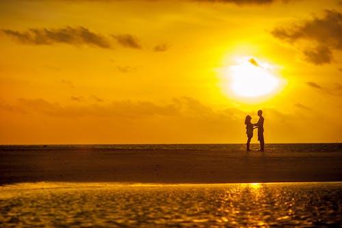 Foto d'estoc gratuïta de aigua, alba, amb silueta, amor