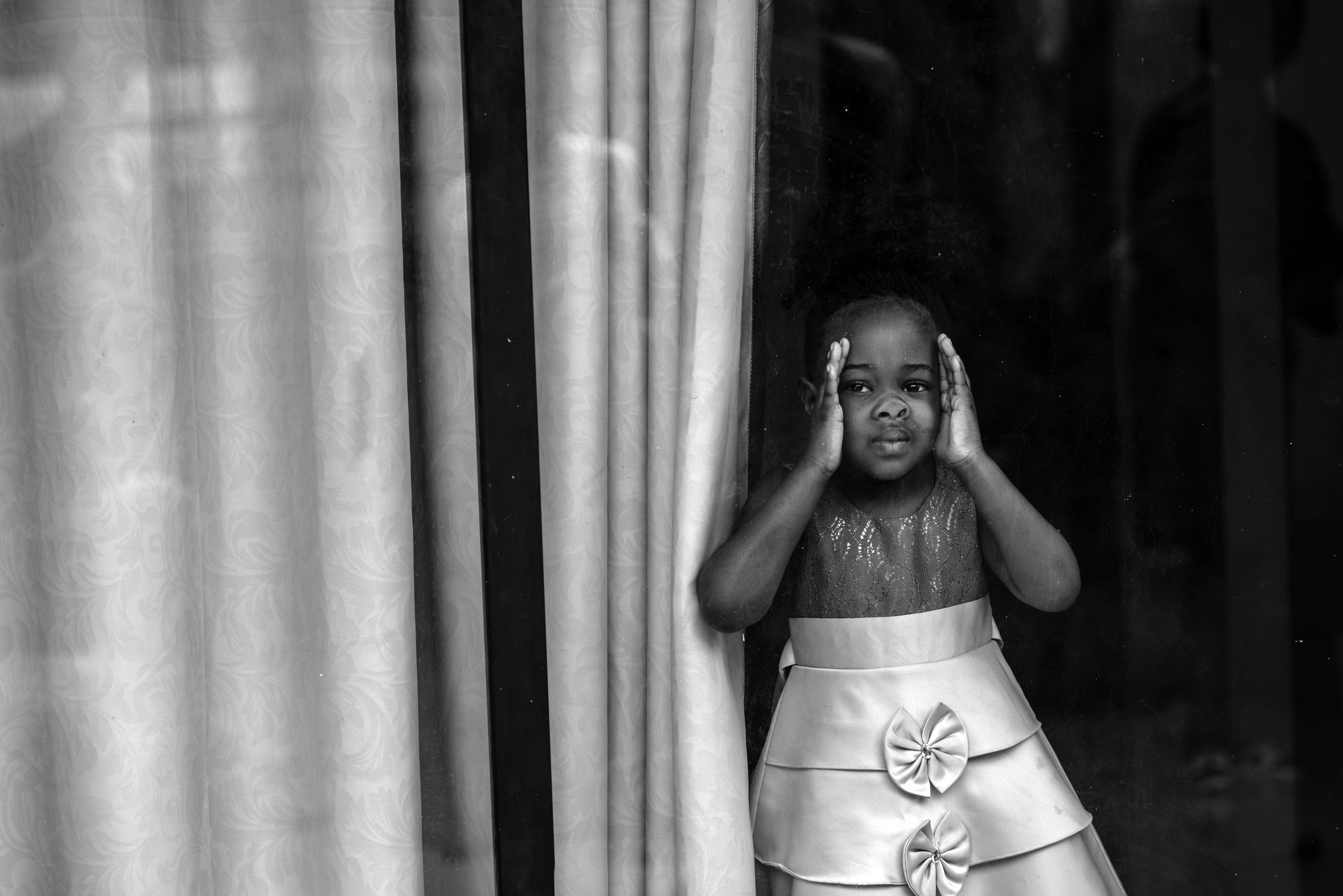 Monochrome Photography of a Girl Wearing Dress