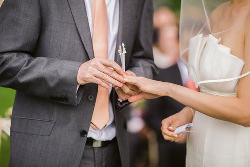 Photo of Groom Putting Wedding Ring on His Bride