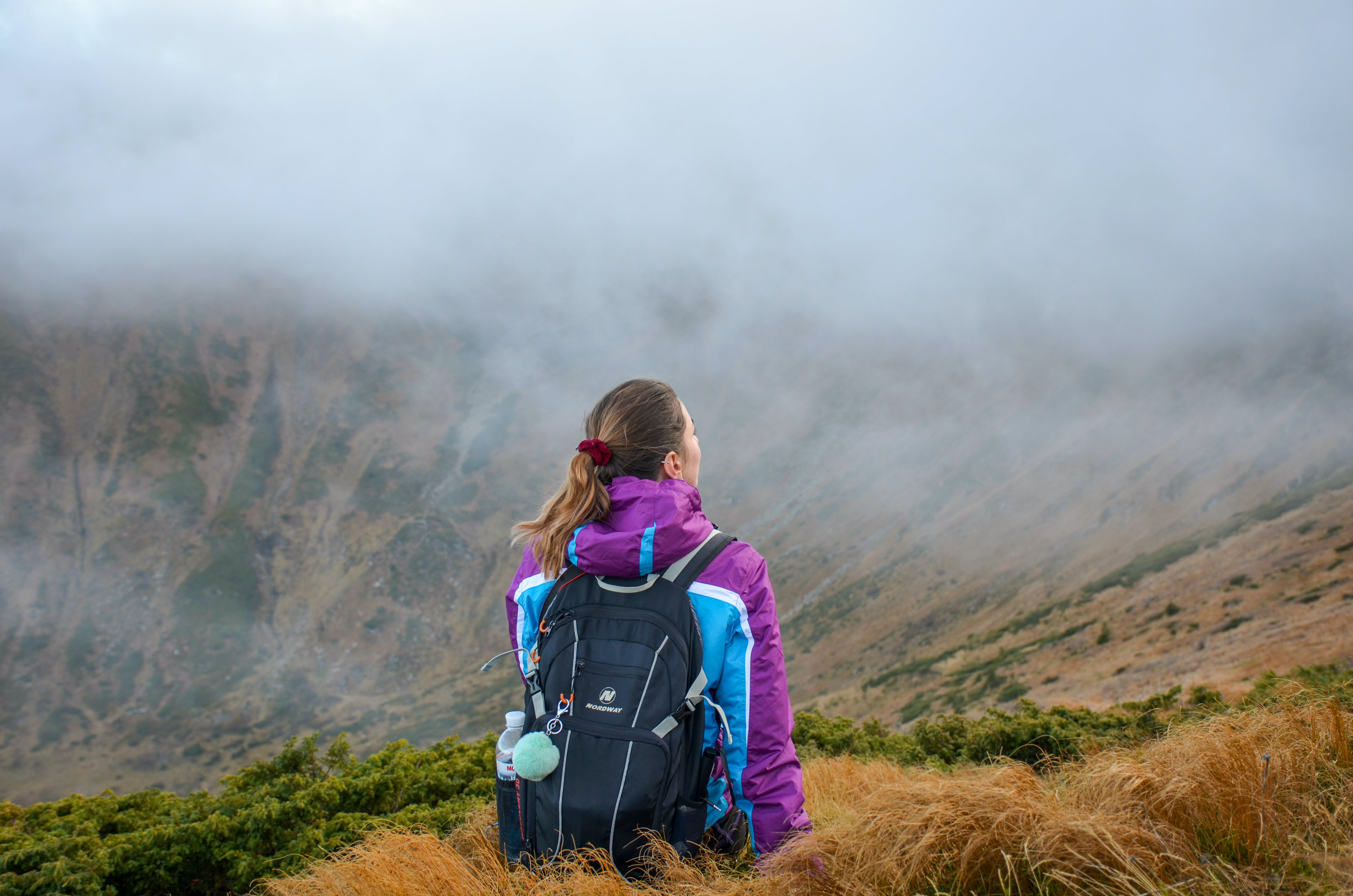 Woman Standing on Mountain Wearing Black Backpack