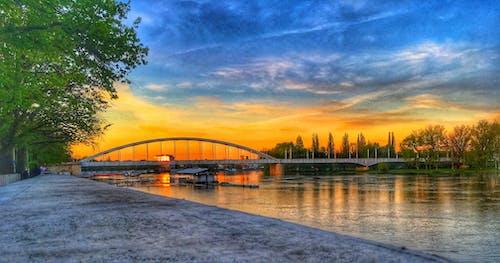 Foto stok gratis Hongaria, jembatan, langit, langit yang dramatis