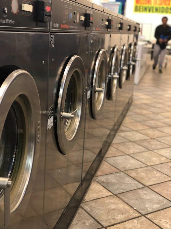 Free stock photo of laundromat, reflections, washing machines