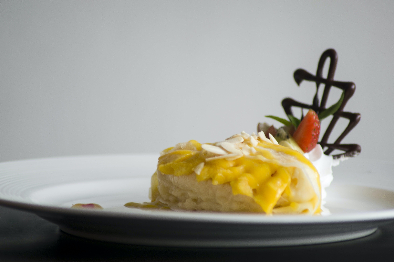 Dessert Served on White Ceramic Plate