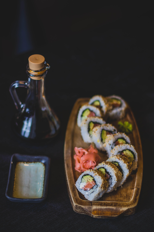 Sliced Sushi on Tray