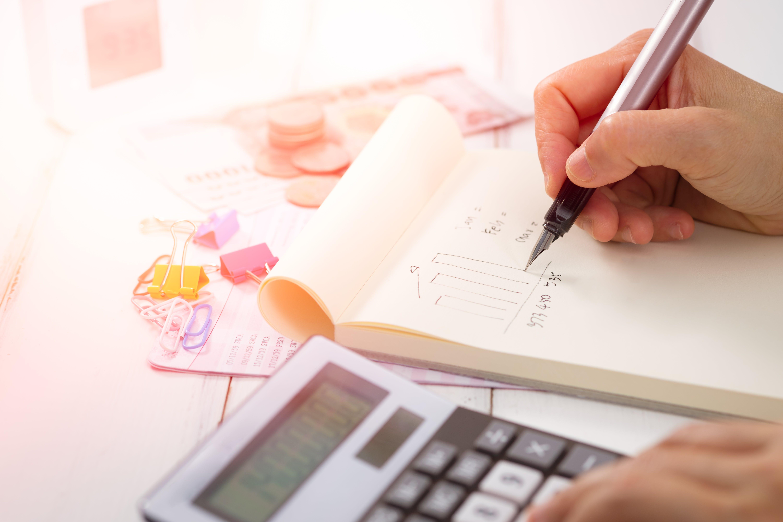 money, calculator, pen