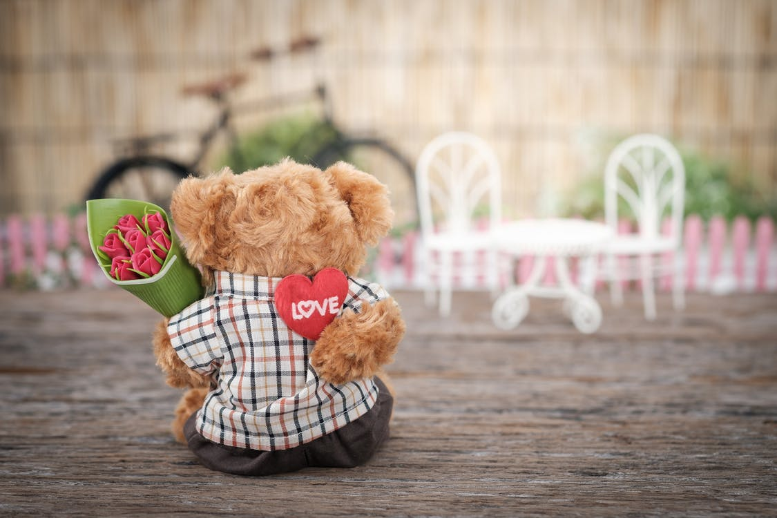 Brown Bear Plush Toy Holding Red Rose Flower for Valentine's Day