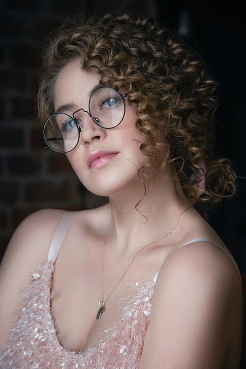 Portrait of Curly Hair Woman