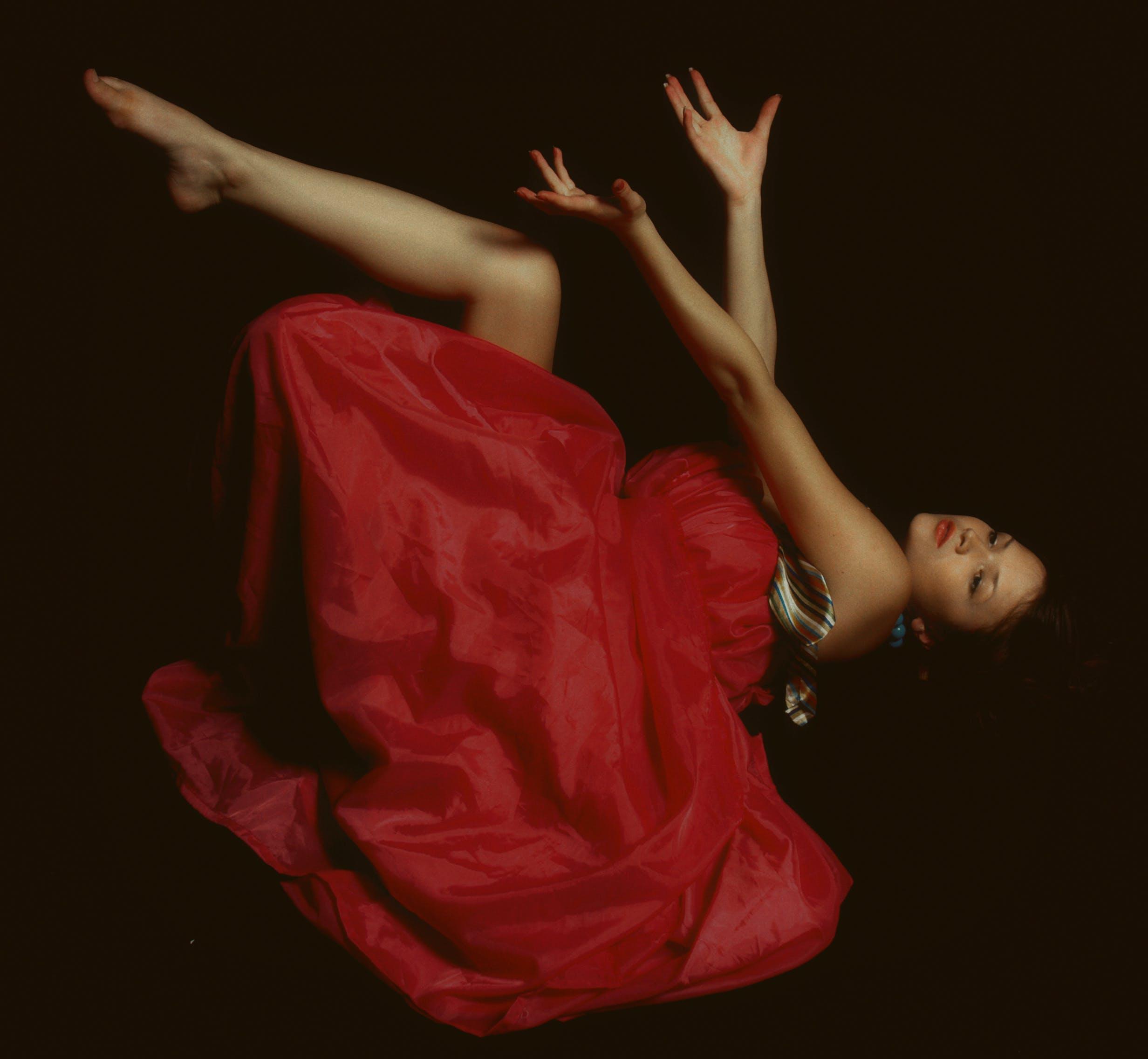 balance, bevægelse, dame