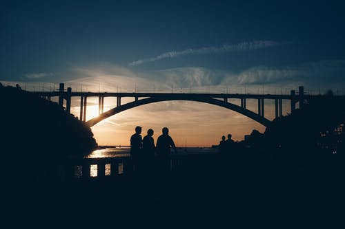 Silhouette of People Standing Near the Bridge
