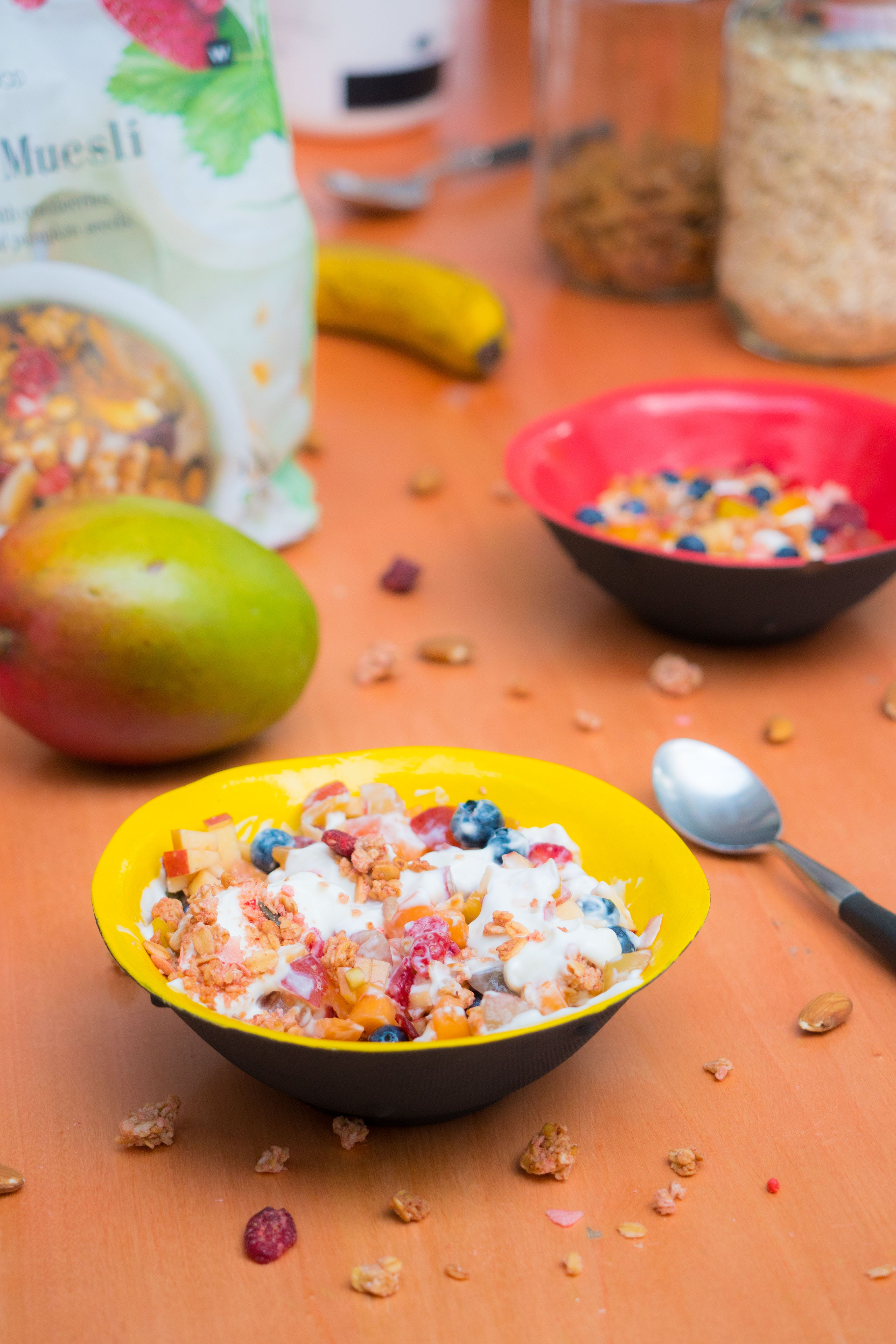 bowls of cereals on a table