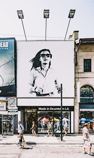 Photo of billboard of woman in black and white