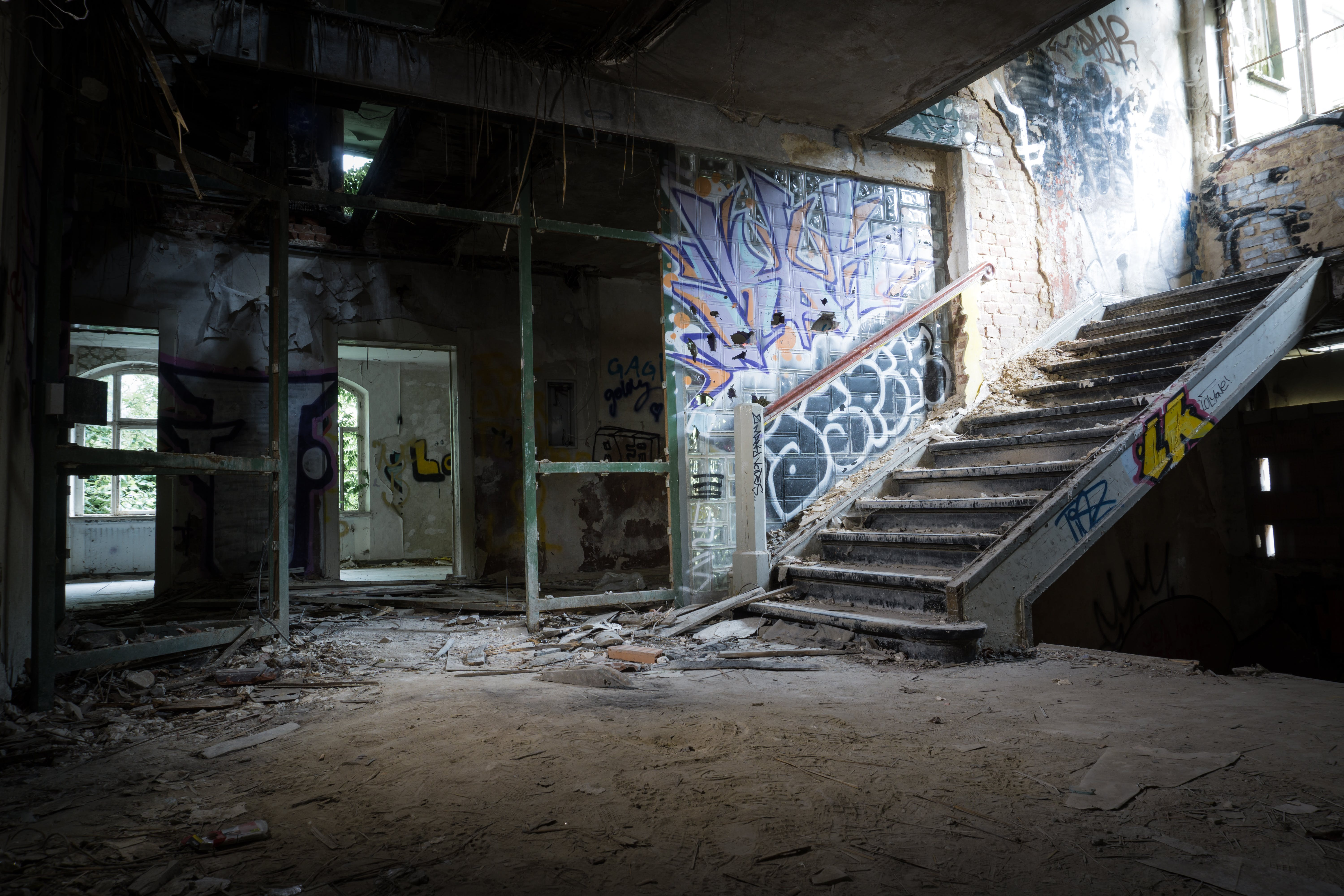 Graffiti Painted on Wall in Abandoned Building