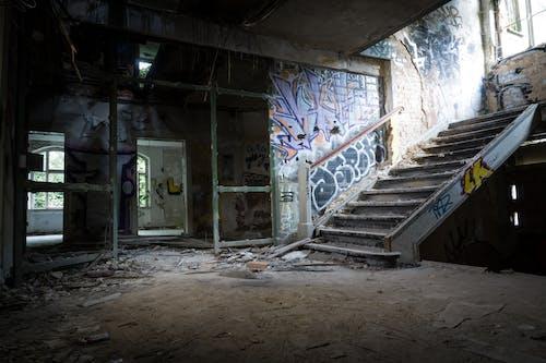 インドア, コンクリート構造, 屋内, 放棄された建物の無料の写真素材