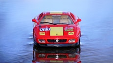 red, water, sports car