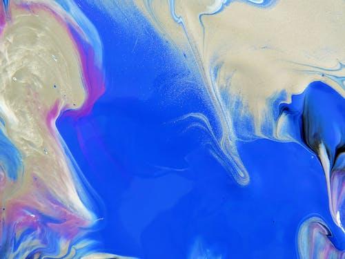 Immagine gratuita di astratto blu argento, astratto viola, pittura blu viola, vernice blu argento