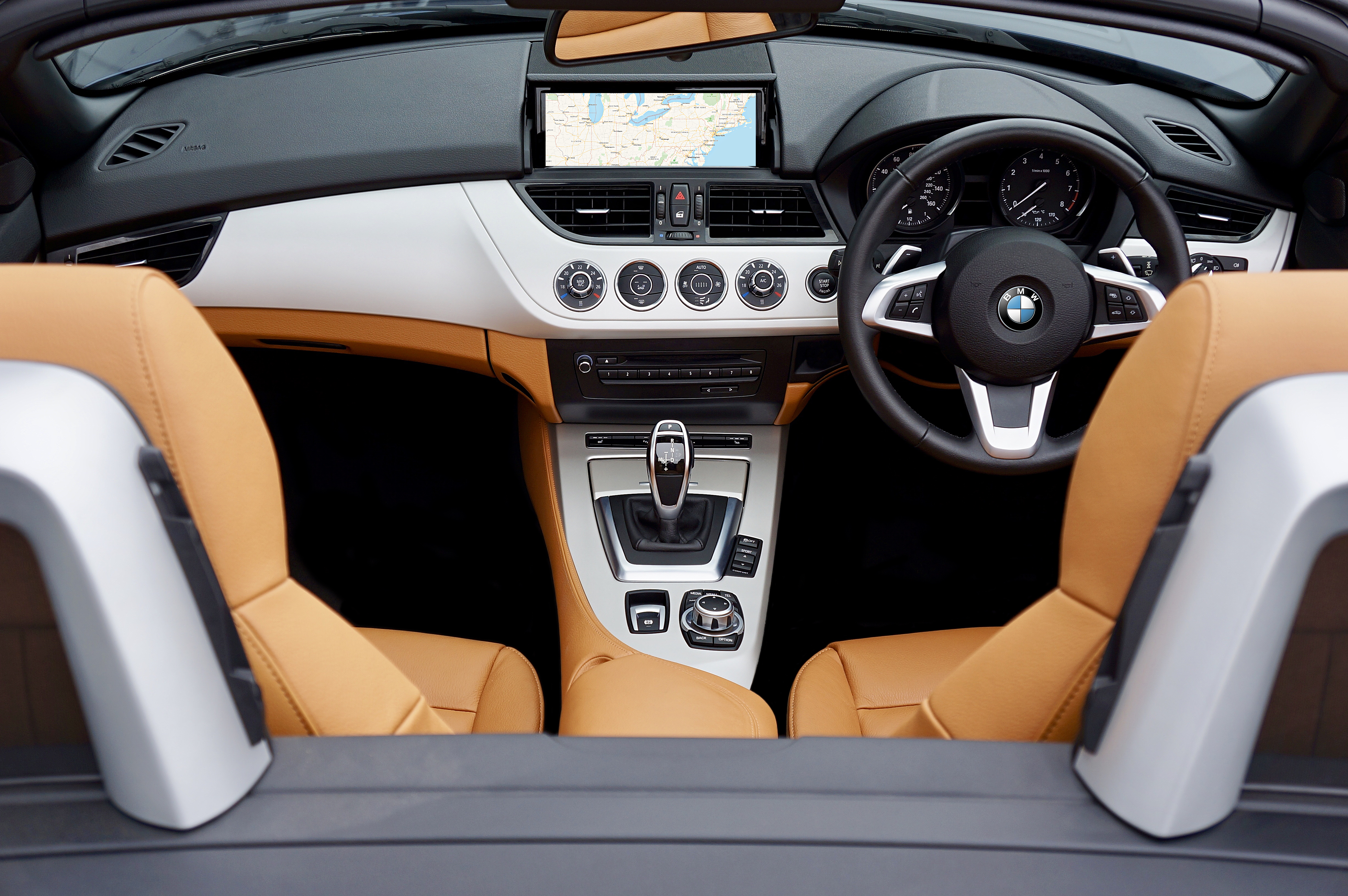 Black, Brown, and Gray Bmw Car Interior View