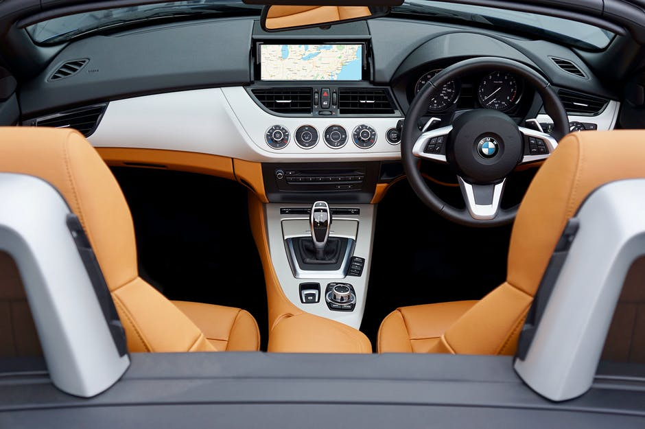 Black brown and gray bmw car interior view